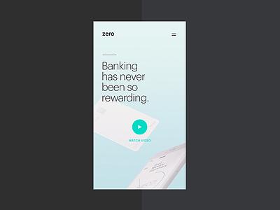Zero Menu after effects bank banking fintech design ui minimal credit card zero gif hero typography