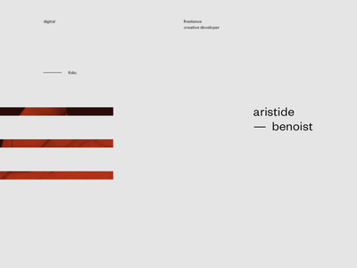 Aristide Benoist – Portfolio landing grid typography hand webgl gif motion intro home web ux ui