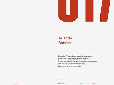 Aristide Benoist — Extras extra contact webgl 3d landing hero grid type ux ui about