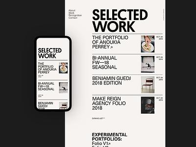 Ari — SELECTED WORK index work website portfolio grid design typography ui