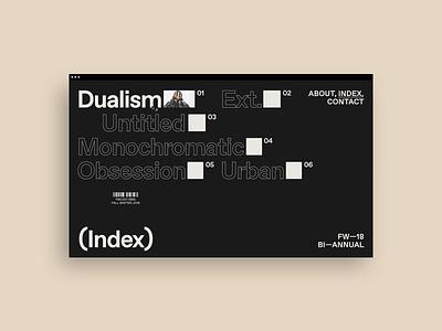 Bi-annual, (Index) photography collection menu fashion portfolio design ui typography