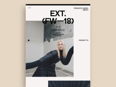 Ext. (Bi-annual, Project) minimal case study fashion photography portfolio grid typography