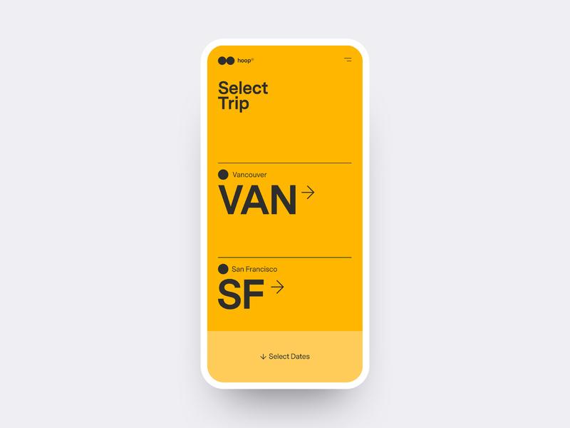hyperloop re:think ux ui typography boardingpass select trip ticket hyperloop trip mobile
