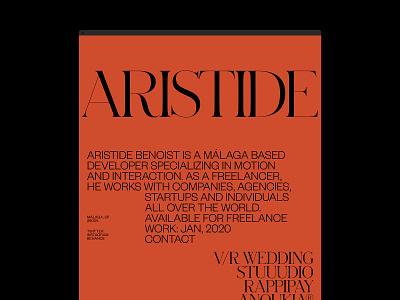 Aristide Benoist ©2019 layout home hero website grid portfolio design typography