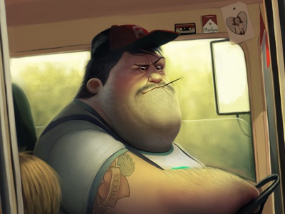 Bus Driver illustration max kostenko