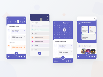 M-Health organizer timeline files calendar medical design app design mhealth medical app mobile ui  ux application