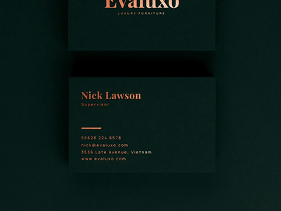 """Evaluxo"" luxury furniture - Business Cards"