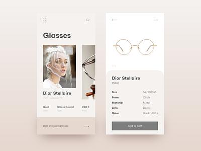 Glasses shop app beige product page shop ui ux clean concept gold creative glasses product ecommerce application mobile app ui pastel minimal gradient girl design