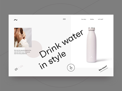 Water bottle preview page website web ui ux ui typogaphy pink pastel minimal landingpage interface interaction inspiration gif design creative clean bottle art animation adobe xd