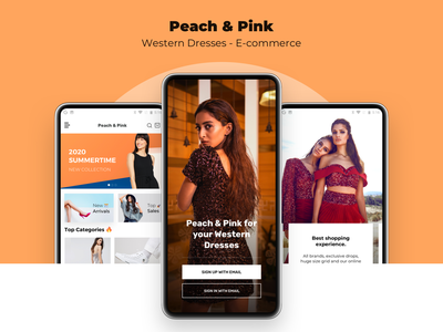 Peach and Pink new shopping clothes online booking application 2d ui design ecommerce design app e commerce ecommerce