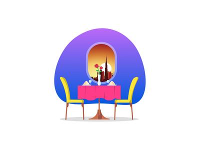 Restaurant in Airplane illustration
