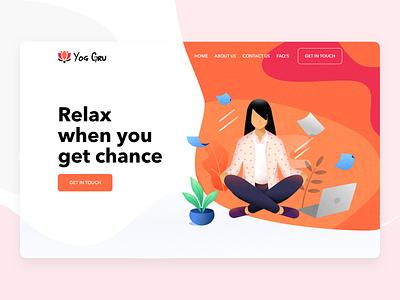 Yog Gru white ux work laptops webdesign design 2d clean ui illustration chill relax web design website