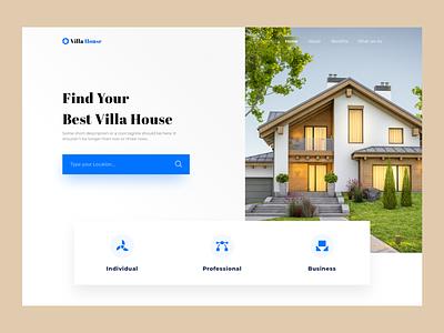 Villa House villa house landingpage home real estate 2d clean design ui