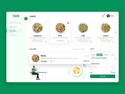 Salads dashboard design favorite fresh payment orders tushar saini user interface clean design illustration webapp crm salads food dashboad ux ui