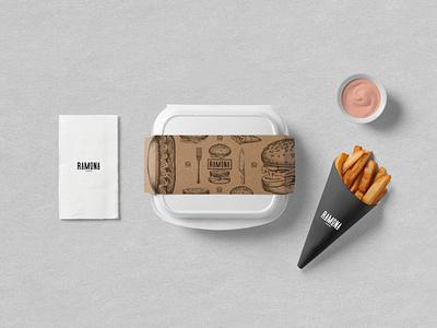 RAMONA - FAST FOOD BISTRO illustration design flat traditional strategy logodesign logo branding brand identity brand