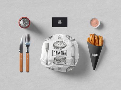 RAMONA - FAST FOOD BISTRO flat illustration design traditional strategy logodesign logo branding brand identity brand