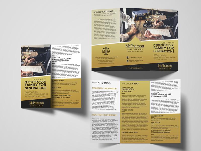Law Tri Fold Brochure elegant sophisticated classy luxurious design brand branding typography dark gold golden lawyer law firm tri-fold brochure tri-fold