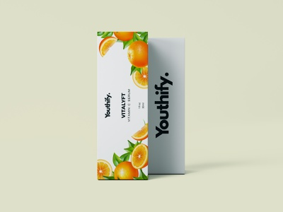 Product Packaging Vitamin C Serum vector design minimal products packagingdesign packaging design citrus vitamin c vitamin white oranges box productdesign packaging product
