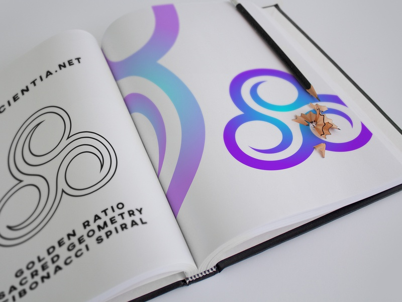 Triskele Logo Preview sacred geometry fibonacci golden-ratio goldenratio flat branding design vector cosmos purple blue logo abstract mark triskele minimal mockup logo design icon brand