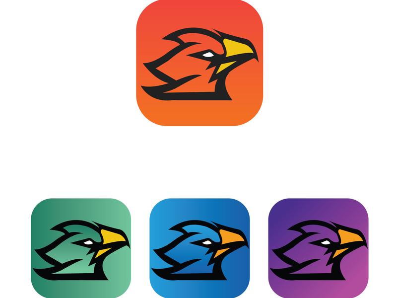 Mobile App Icon Phoenix uiux blue app mockup identity abstract mark logo vector branding flat logo design design illustration brand minimal icon phoenix phoenix suns phoenix logo