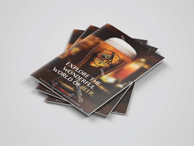Beer Brochure brush bi fold tri fold a4 leaflet flyer beer can flat logo design brand branding beer brochure