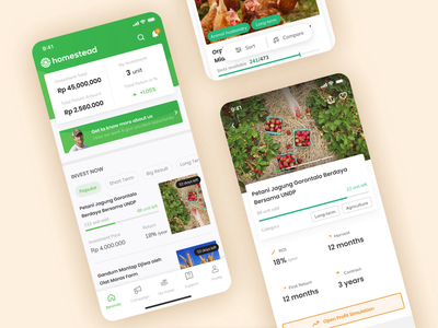 Homestead - Agricultural Investment App investing platform ios payment farming contract purchase transfer ux ui shares agriculture mobile app invest investment financial