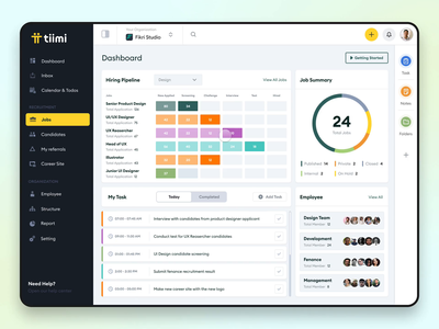 Tiimi - Search Interaction - HRM pipeline employee saas resource job candidate dashboard hr hrs hrm ui ux interaction search management