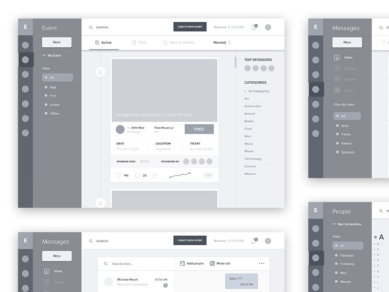 Event Management Dashboard Wireframe #1 schedule app webapp desktop webdesign ux ui dashboard management event wireframe