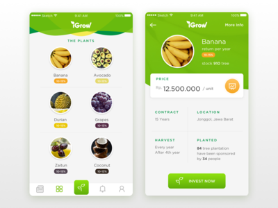 iGrow Concept green investment vegetable fruit plant grow ux ui app