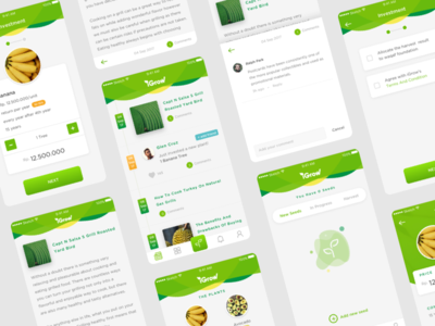 iGrow Concept - More Screens  app ui ux grow plant fruit vegetable investment green