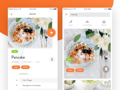 Recipe App card food ingridients tutorial video ios recipe ux ui