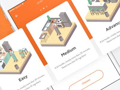 Recipe App - Choose Level kitchen illustration ui ux recipe ios video tutorial ingridients food card