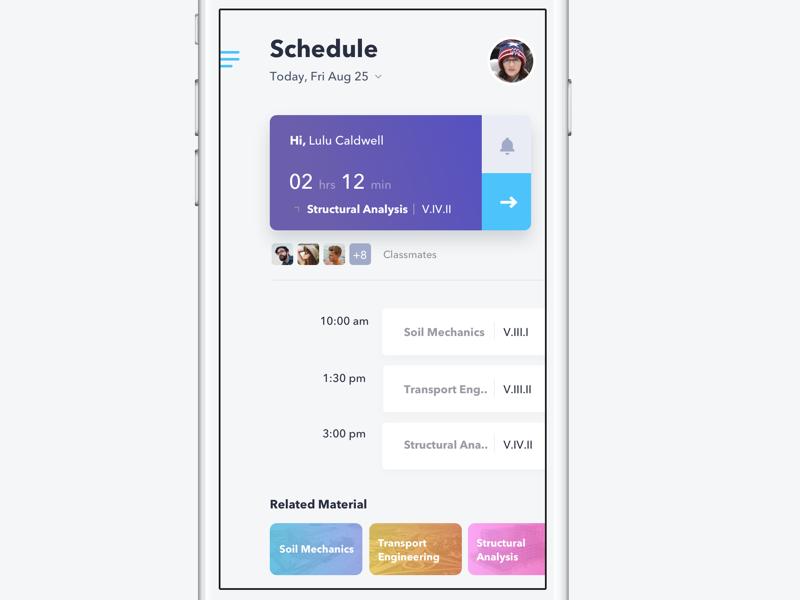 Dribbble schedule kuliah app