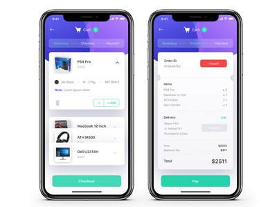 Checkout flow mobile principle app purchase ecommerce face id card payment pay cart summary checkout