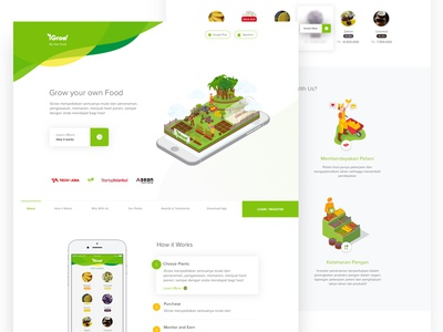 iGrow Landing page concept crops farmer food seed clean isometric app ios invest plant web landing page