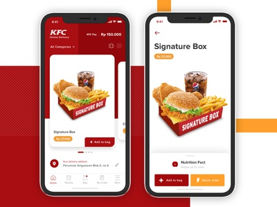 KFC Delivery App Exploration mobile burger card food kfc iphone x ios delivery app