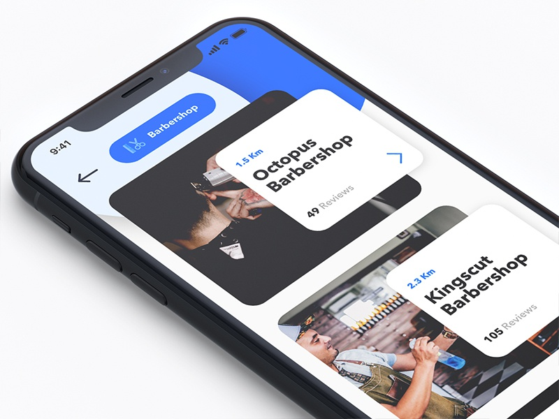 Searching Barber thumbnail list search ui ios app service barber