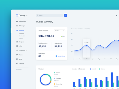 Invoice Dashboard team ux app ui management earning money chart invoice dashboard