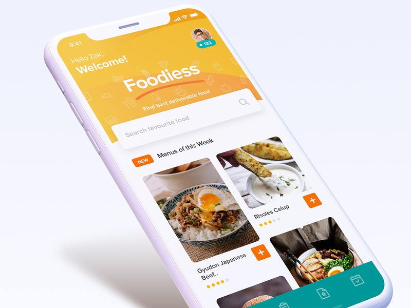 Foodies - exploration mobile food and drink food app food and beverage lunch dish deliverable deliver catering food dashboard ios ux ui app
