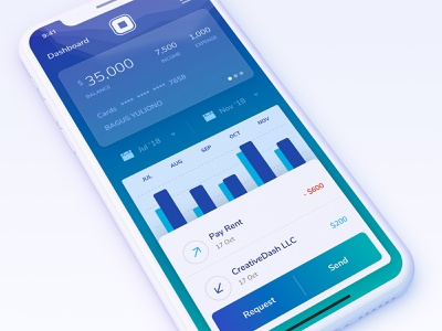 Mobile banking concept - Squarebank fintech money app card pay statistics currency wallet money financial mobile ios ux ui app
