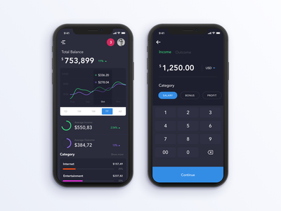 Financial App crypto currency wallet financial management mobile money dashboard ios ux ui app