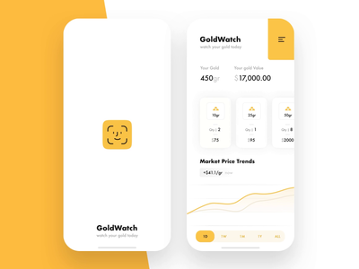 GoldWatch app principle iphone x face id map price management savings gold dashboard ios ux ui app