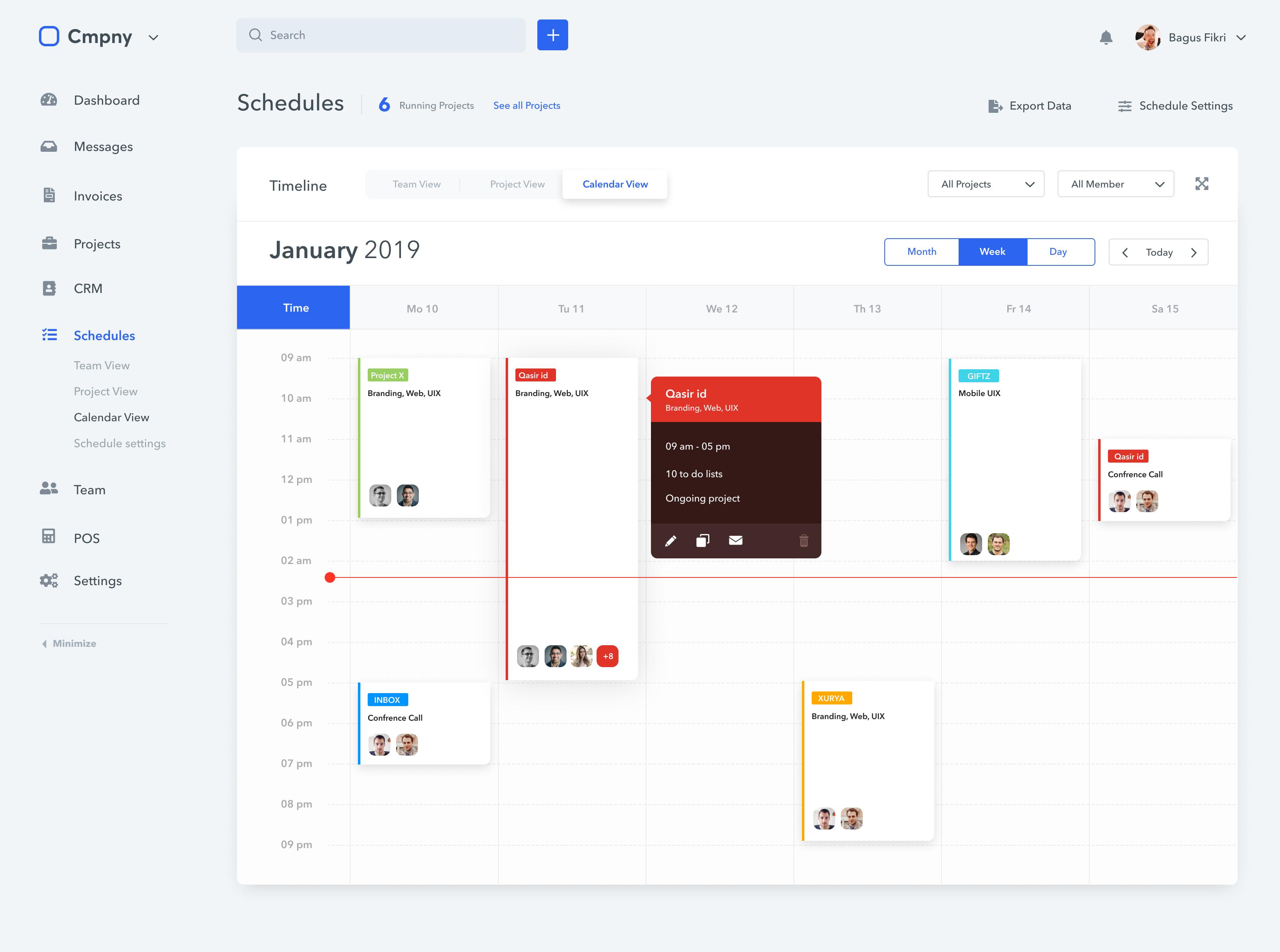 Fikristudio schedules calendar