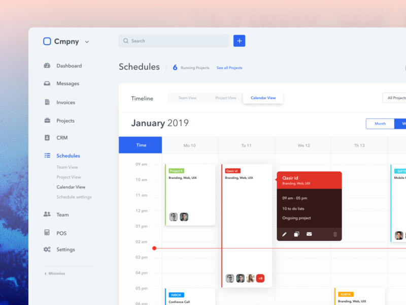 Calendar (Schedule management) - System Ui Kit app task team project scheduler calender calendar schedule management ux ui dashboard