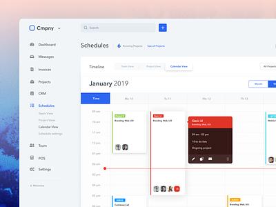 Calendar (Schedule management) - System Ui Kit app task team project scheduler calender calendar schedule management ux ui dashboard