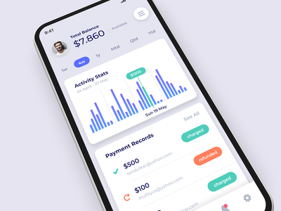 Payment Gateway - Exploration charts stats sales currency money balance wallet app ios gateway payment