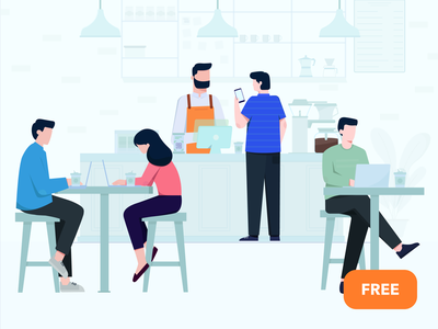 Cafe Illustration - Free download freebies payment cashier restaurant bar coffee people svg download free illustration cafe