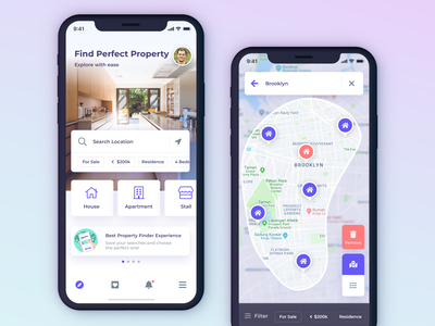 Oemah Finder map app ux ui ios home location search explorer find stall apartment house property mobile listing directory kit figma