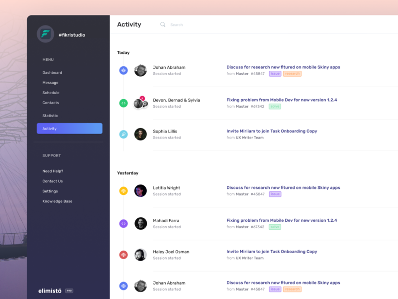 Elimisto Activity Calendar web design crm management schedule web figma product design app ux ui webdesign system dashboard calendar timeline activity