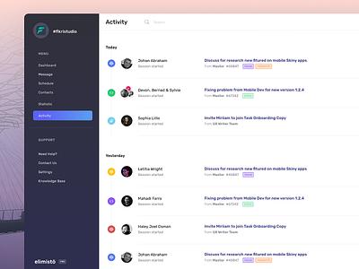 Elimisto Activity Calendar web design crm management schedule web figma product design app ux ui webdesign system dashboard calendar timeline activity